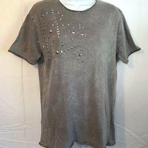 Zara Man distressed grey studded shirt